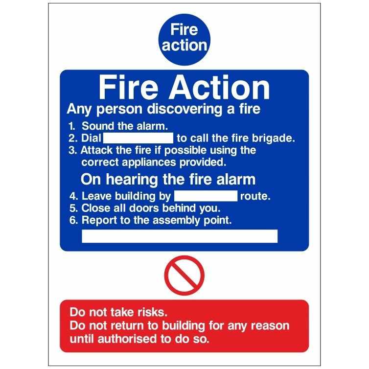 Any Persons Discovering a Fire Action Notice Sign