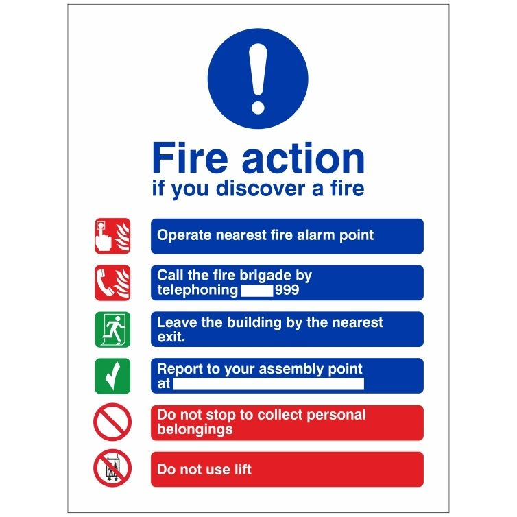 If you Discover a Fire Action Notice Sign
