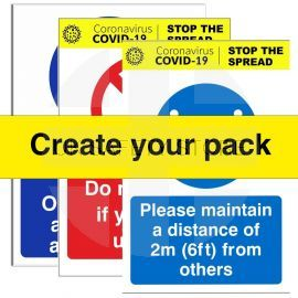 Covid Social Distancing Safety Sign Pack (create your own)