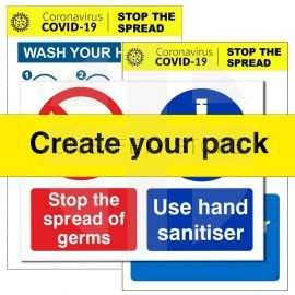 Covid Wash & Sanitise Hands Sign Pack (create your own)