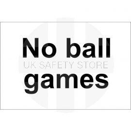 No Balls Games sign