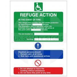 Refuge Fire Action Notice Sign