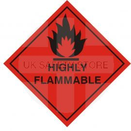 Highly Flamable Warning Sticker 200Wmm x 200Hmm