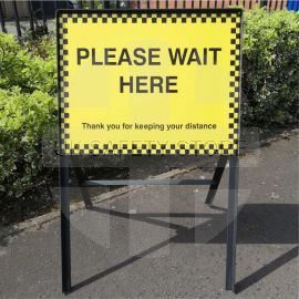 Please Wait Here Temporary Traffic Sign