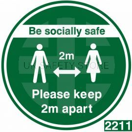 Be Socially Safe Keep 2m Apart Floor Sticker - Green
