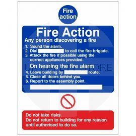 6 Point Fire Action Notice Sign - Any Person Discovering a Fire