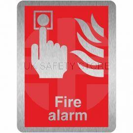 Brushed Aluminium Effect Fire Alarm Sign