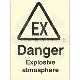 Danger Explosive Atmosphere Glow In Dark Sign