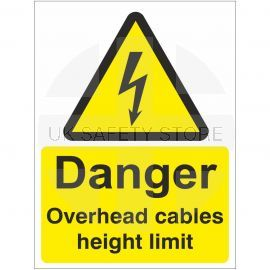 Danger Overhead Cables Height Limit Safety Sign