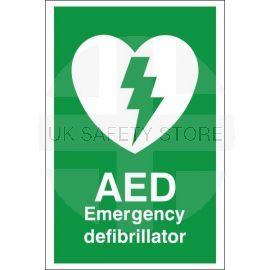 AED Emergency Defibrillator First Aid Sign
