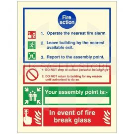 Glow In The Dark 3 Point Fire Action Notice Sign (In Event Of Fire Break Glass)