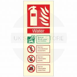 Glow In The Dark Water Fire Extinguisher Identification Sign