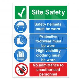 Site Safety Helmets Must Be Worn Sign