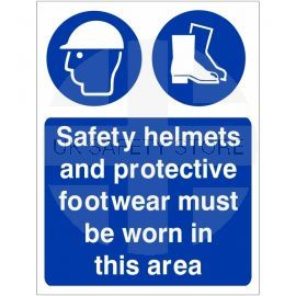 Safety Helmets And Protective Footwear Must Be Worn In This Area Sign