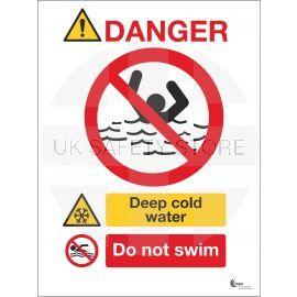 Danger Deep Cold Water Sign - Do Not Swim