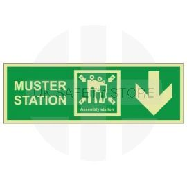Muster Station Assembly Station Arrow Down Sign
