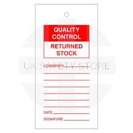Quality Control Returned Stock Tags