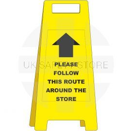 Please Follow This Route Around The Store Freestanding Sign