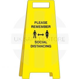 Please Remember Social Distancing Freestanding Sign