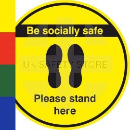 Be Socially Safe Please Stand Here Floor Sticker
