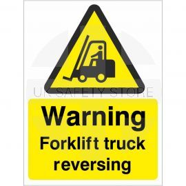 Warning forklift truck reversing sign in a variety of sizes and materials with or without your logo