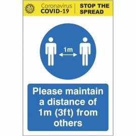 Please Maintain A Distance Of 1m (3ft) From Others Sign