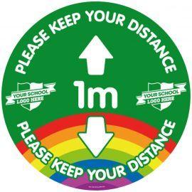 Custom Please Keep Your Distance 1 Metre School Floor Graphic Sign