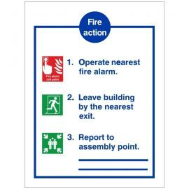 3 Point Fire Action Notice Sign - Complete With Lines Where You Can Enter Assembly Point Location