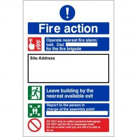 Fire Action Construction Site Notice Sign