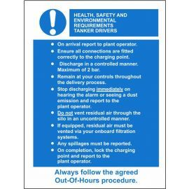 Health Safety and Environmental Requirements for Tanker Drivers 600X800mm Composite Board Sign