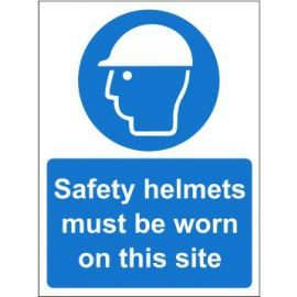 Safety helmets must be worn on this site sign in a variety of sizes and materials with or without your logo