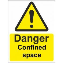 Danger confined space sign in a variety of sizes and materials with or without your logo