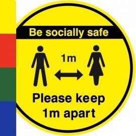 Be Socially Safe Keep 1m Apart Floor Sticker