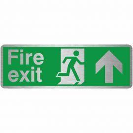 Fire Exit Arrow Up Brush Aluminium Effect Prestige Sign