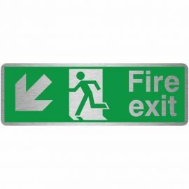 Brushed Aluminium Fire Exit Arrow Down Left Sign