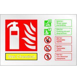 Brushed Aluminium Effect Wet Chemical Fire Extinguisher Sign