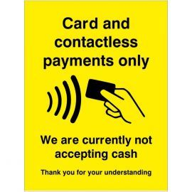 Card And Contactless Payment Only Sticker