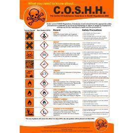 COSHH Regulations Poster 420Wx 595Hmm - High Quality Semi Rigid PVC
