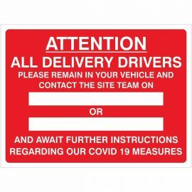 Delivery Drivers Covid 19 Instruction Sign (Writable)