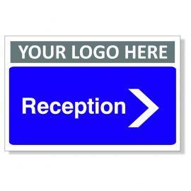 Reception Arrow Right Custom Logo Door Sign