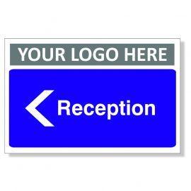 Reception Arrow Left Custom Logo Door Sign