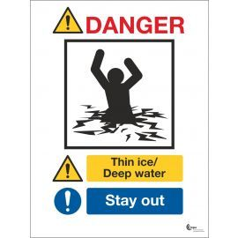 Danger Thin Ice Deep Water Sign - Stay Away