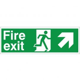 Fire Exit Arrow Up Right Sign