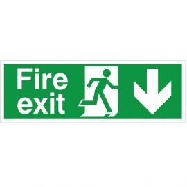 Extra Large Fire Exit Down Sign 900mm x 300mm