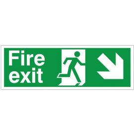 Fire Exit Arrow Down Right Sign