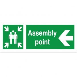Assembly Point Arrow Left Sign - 400x150