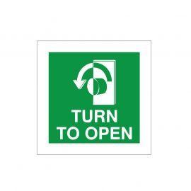 Turn To Open Anti Clockwise Door Sign