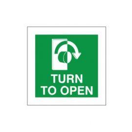 Turn To Open Clockwise Door Sign