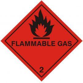 Flamable Gas Warning Sticker 100Wmm x 100Hmm