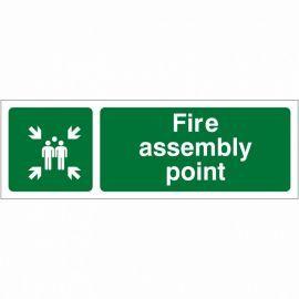 Fire Assembly Point Sign 600W x 200Hmm - Rigid Plastic